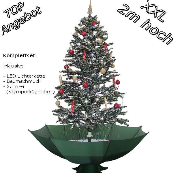 200cm weihnachtsbaum christbaum gr n mit schneefall. Black Bedroom Furniture Sets. Home Design Ideas