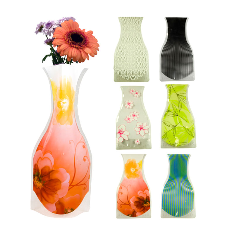 6er set faltbare vase faltvase kunststoff vasen plastikvase blumenvase tischvase ebay. Black Bedroom Furniture Sets. Home Design Ideas