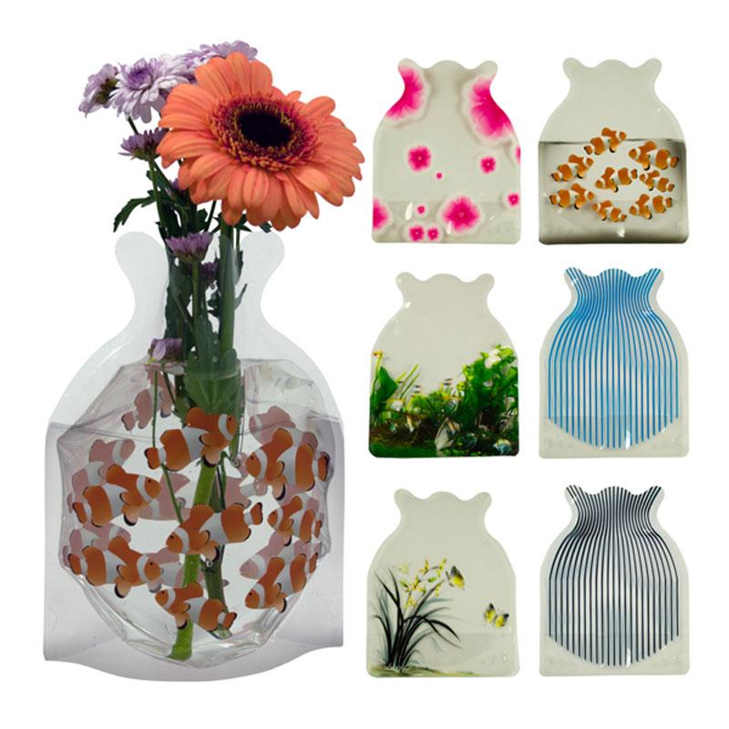 6er Set faltbare Vase Faltvase Kunststoff-Vasen Plastikvase Blumenvase Tischvase