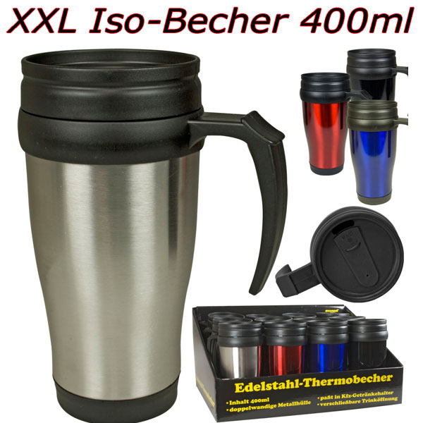 edelstahl isolierbecher 400ml thermobecher iso becher auto pkw kaffeebecher neu ebay. Black Bedroom Furniture Sets. Home Design Ideas