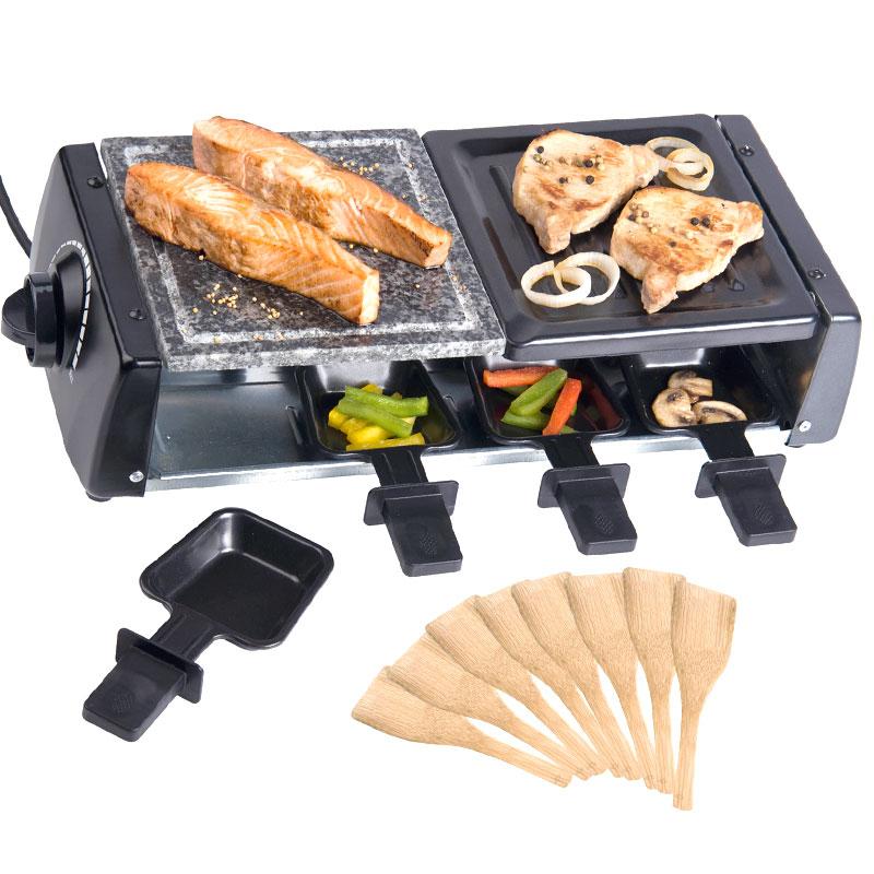 raclette grill 3 in 1 hei er stein 8 personen grillplatte tischgrill 1200w neu ebay. Black Bedroom Furniture Sets. Home Design Ideas