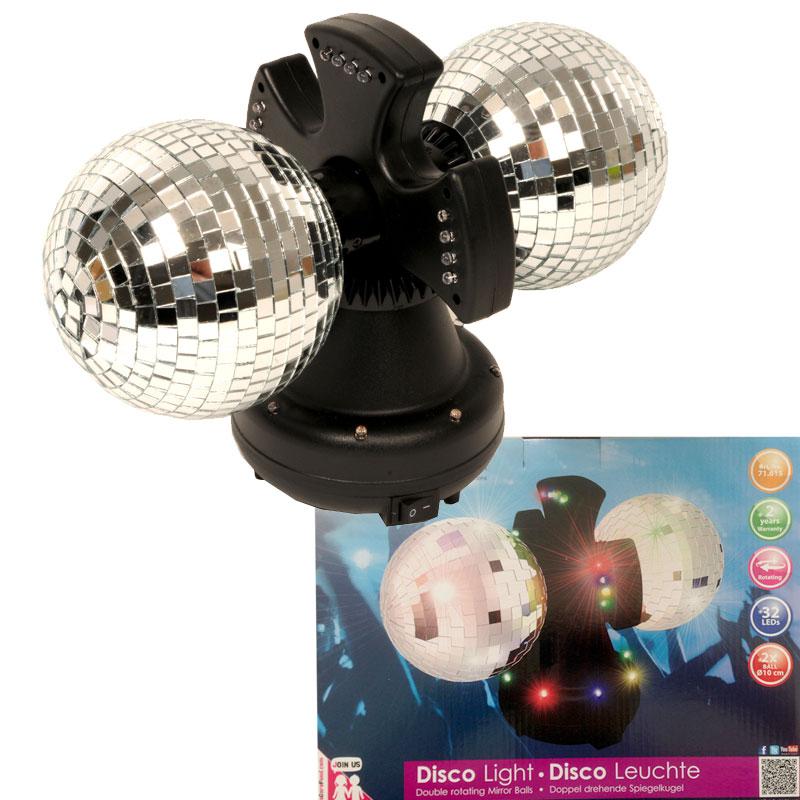 spiegelkugel doppel disco kugel party licht effekt strahler mirror ball led neu ebay. Black Bedroom Furniture Sets. Home Design Ideas