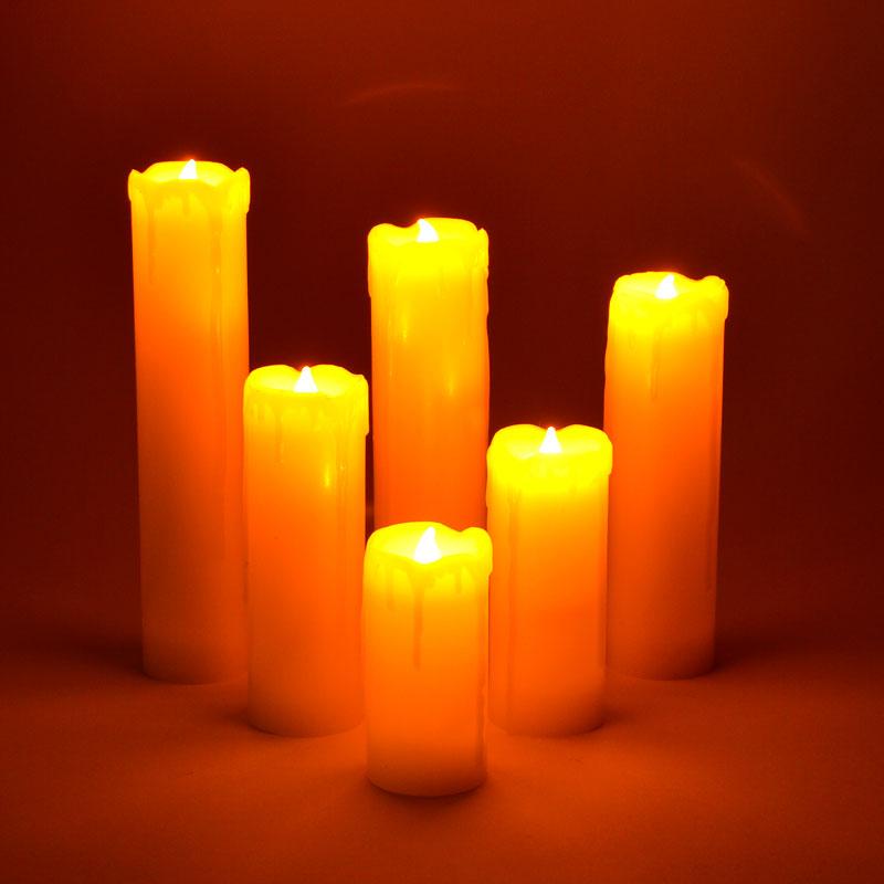 6 teiliges led echtwachs kerzen set wachs kerze flackerlicht flammenlos candle ebay. Black Bedroom Furniture Sets. Home Design Ideas