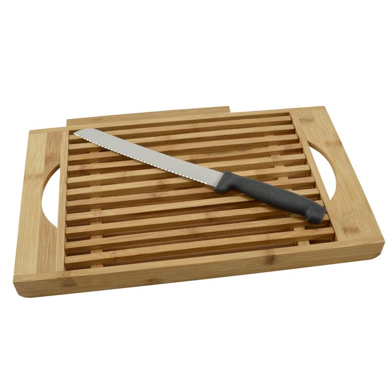 bambus brotschneidebrett mit messer kr melfach schneidbrett holz brett messer ebay. Black Bedroom Furniture Sets. Home Design Ideas