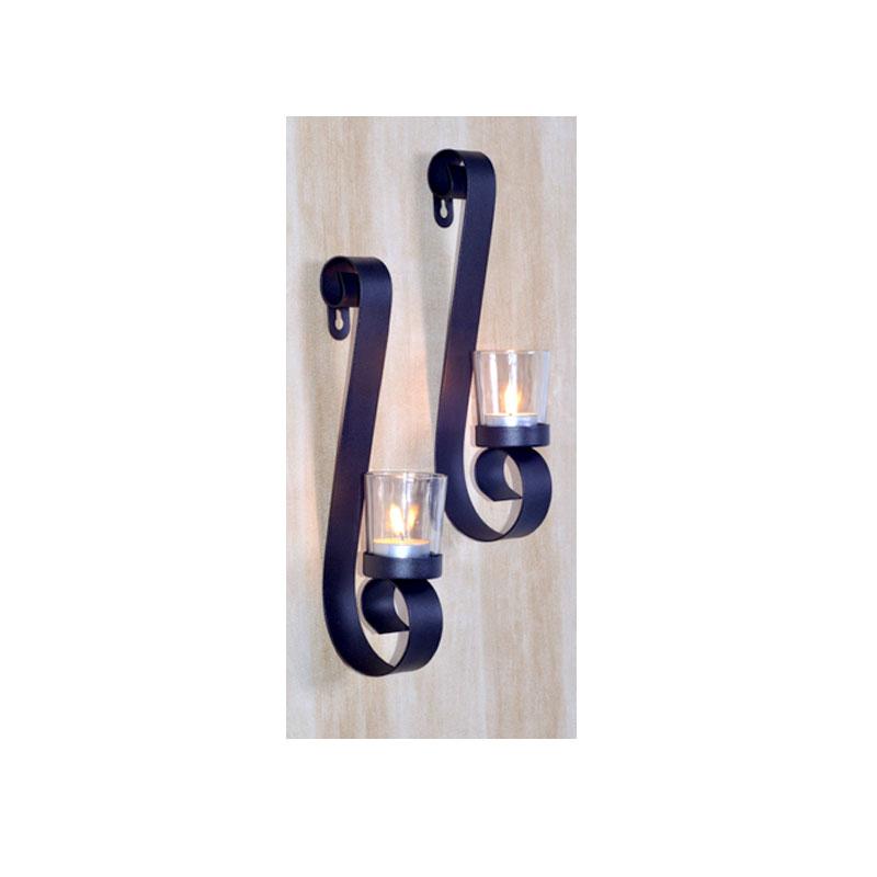 wandkerzenhalter 2er set teelichthalter wand kerzenhalter kerzenst nder metall ebay. Black Bedroom Furniture Sets. Home Design Ideas