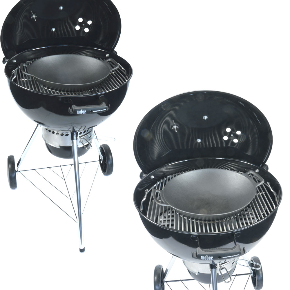 gourmet grillrost einsatz bbq gusseisen wok pizzastein passend f r weber grill ebay. Black Bedroom Furniture Sets. Home Design Ideas